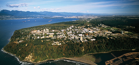 Aerial shot of UBC Point Grey campus in Vancouver