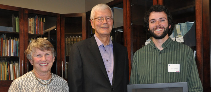 Jean and Ken Finch with award winner Christopher Collier. Photo Credit: Don Erhardt