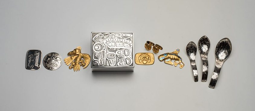Selected works in gold and silver by renowned Haida artist Bill Reid are part of a collection donated to the Museum of Anthropology by late Calgary philanthropist Margaret (Marmie) Perkins Hess. Credit: Martin Dee/University of British Columbia