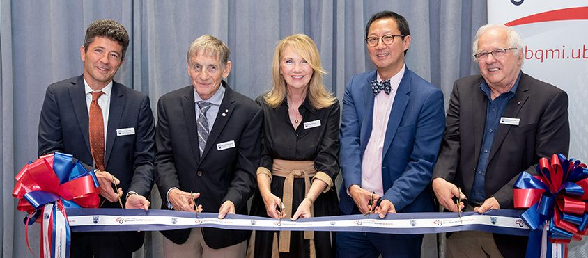 Andrea Damascelli, Stewart & Marilyn Blusson, Santa Ono, George Sawatzky at the opening of the Stewart Blusson Quantum Matter Institute