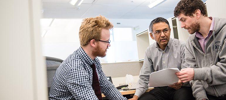 Brian Caffrey, graduate student, Dr. Sriram Subramaniam, and Dr. Jean-Phillipe Demers, postdoctoral fellow. Photo: Paul Joseph